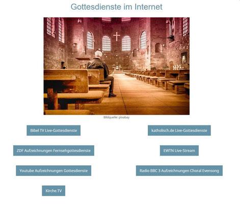 Informationsseiten mit Links auf unserer Pfarreihomepage