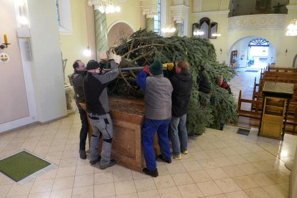 Nun muss der schwere Baum über den Altartisch gehievt werden