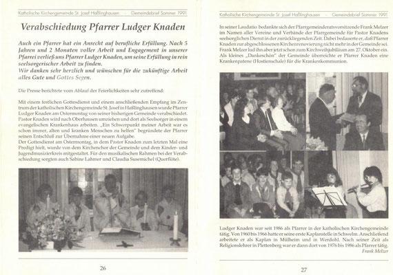 Auszug aus dem Gemeindebrief vom Sommer 1991