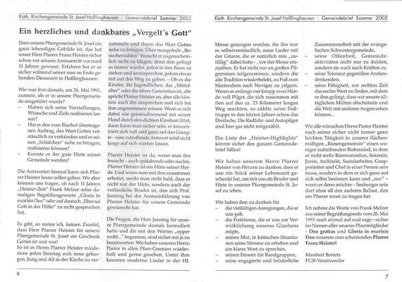 Auszug aus dem Gemeindebrief Sommer 2002