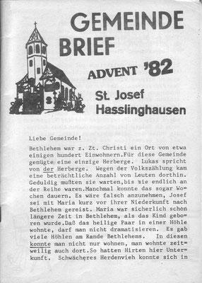 Titelseite eines unserer ersten Gemeindebriefe