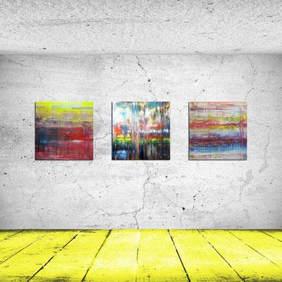 STEPPE und STADTLICHTER und SAHEL - Acrylbild auf Leinwand - je 70 x 70 cm - je € 220,-