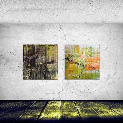 NACHTTANZ und NÄHE - Acrylbild auf Leinwand - je 100 x 100 cm -  verkauft!