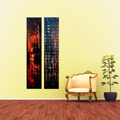 PAULA & PAUL - Acrylbilder auf Leinwand - je 32 x 151 cm - im Duo € 720,-