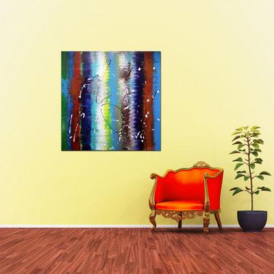 REGENBOGEN - Acrylbild auf Leinwand - 100 x 100 cm - € 550,-