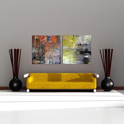 FARBENSPIEL und STIMMUNG - Acrylbild auf Leinwand - je 100 x 100 cm - je € 450,-