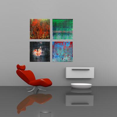 PEPPERONI und LICHTUNG und LICHTBLICK und RUHE - Acrylbild auf Leinwand - je 70 x 70 cm - je € 220,-
