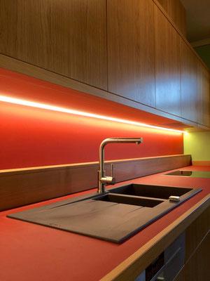 Küche Eiche massiv Linoleum
