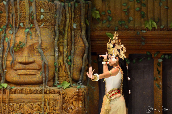 a scene of a traditional dance show in Siem Reap