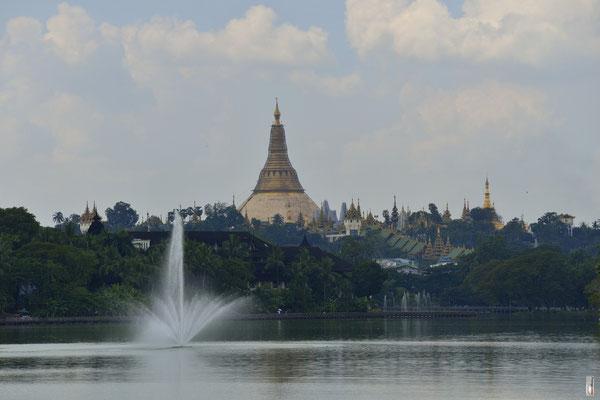 Shwedagon Pagoda [Yangon/Myanmar] (foto taken from Kandawgyi-Lake)