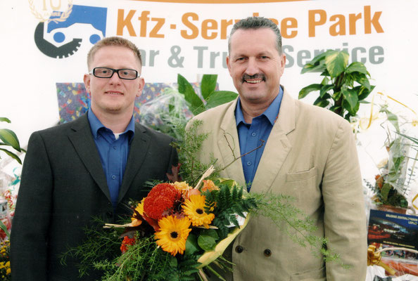 ... wie alles einmal begann: Markus Knappe (li.) und Bernd Ullmann (re.) beim 10-jährigen Firmenjubiläum