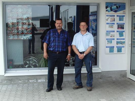 ... wie alles einmal begann: Bernd Ullmann (li.) und Markus Knappe (re.)