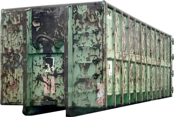 Verrosteter Container vor dem Sandstrahlen