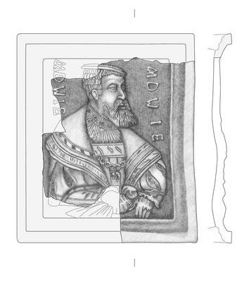 Aufnahme und Rekonstruktion einer mittelalterlichen Ofenkachel, Herkunft Brandenburg