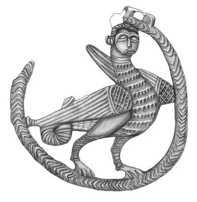Aufnahme eines silbernen Anhängers mit einer Harpyie, Herkunft Brandenburg