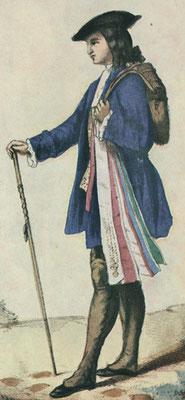 Un compagnon pendant son tour de France au XVIIIe siècle