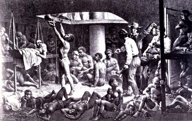 Les esclaves à bord d'un navire négrier