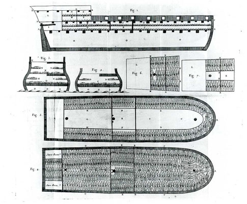 Plan en coupe d'un navire négrier