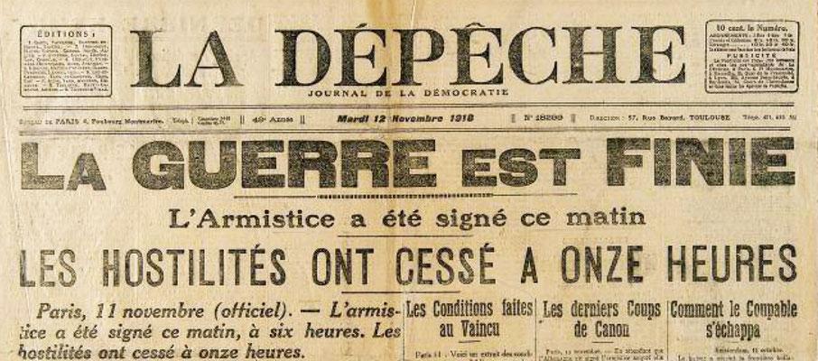 L'annonce de l'Arrmistice dans la Presse
