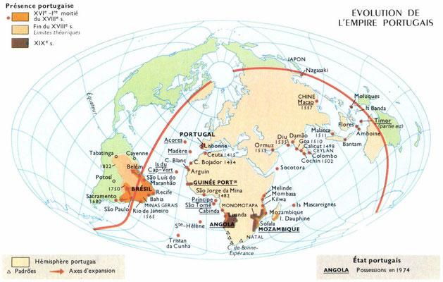 L'évolution de l'empire portugais du XVIe à nos jours