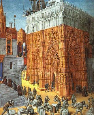 La construction de cathédrale, Jean Fouquet, 1452-1458
