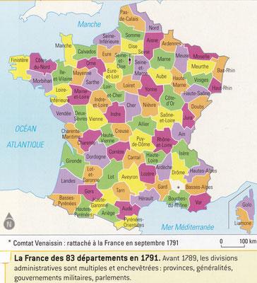 Les départements français en 1791