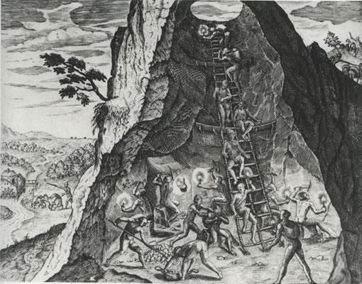 Théodore de Bry, La mine d'argent de Potosi, gravure, 1562