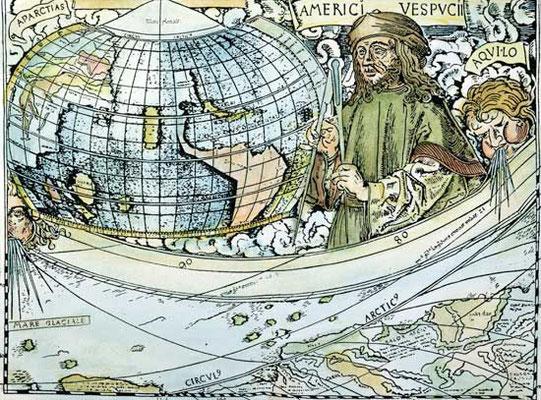 Americo Vespuci, Planisphère de Martin Waldseemüller, détail, 1507, British Library, Londres