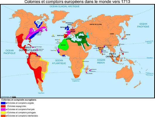 Colonies et comptoirs européens dans le monde vers 1713