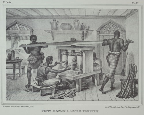 Le travail au moulin à bras, gravure du XIXe