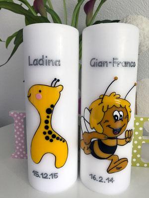 Taufkerzen mit Giraffe und Biene Maja, Kerzengrösse 80x240mm