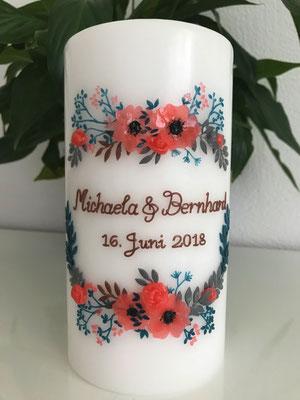 Hochzeitskerze nach Einladungskarte gestaltet, Kerzengrösse 100x200mm