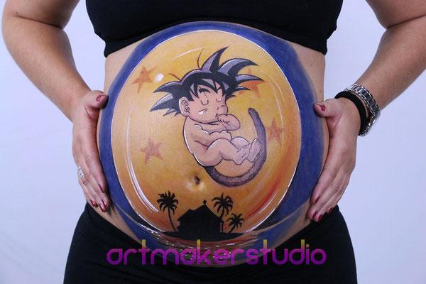 Belly Painting GOKU artmakerstudio Madrid