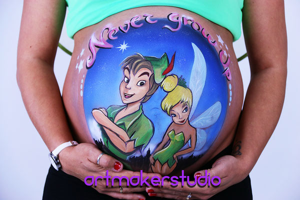 Belly Painting Peter Pan y Campanilla, Peter Pan & Tinkerbell Belly Painying