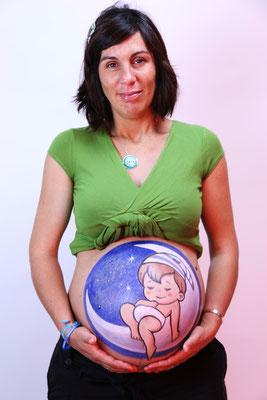 Body Paint Premamá Madrid. Bebé en la Luna