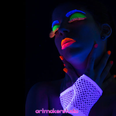 Fluor Face Paint ,  Neon Photography  Madrid Arehucas Ron Tour 2018