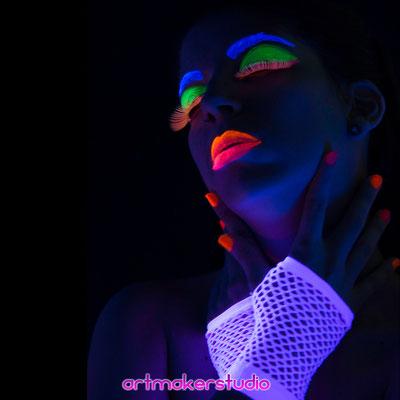 Fluor Face Paint ,  Neon Photography  Madrid Arehucas Ron Tour 2018