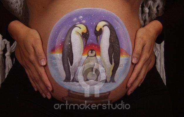 BELLY PAINT  Pinguinos ARTMAKERSTUDIO Madrid - Penguins