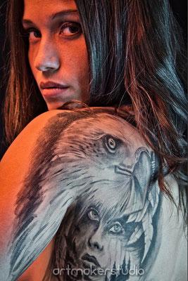 Tatuaje Temporal  Águila Madrid para campaña publicidad Valky