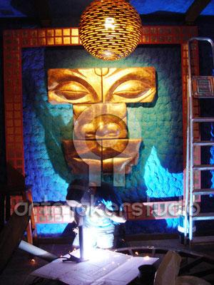Pintura de murales con escultura - El Refugio Restaurante. Nerja, MALAGA