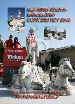 Escultura de Neptuno en la Copa del Rey Barcelona 2010