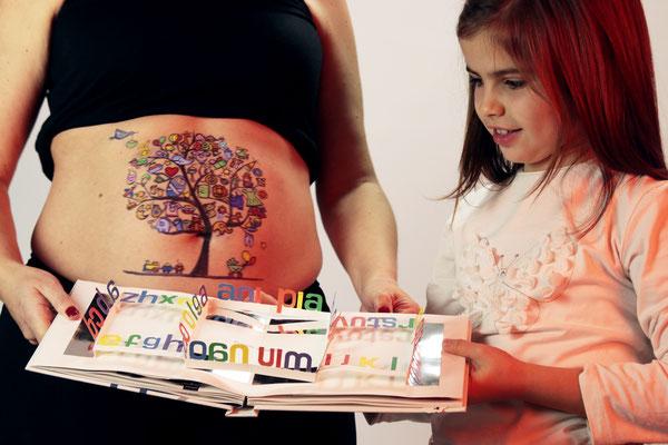 Belly Painting Arbol de los deseos + sesión de fotos premamá en familia Madrid