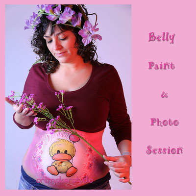 Belly Painting en Madrid, Belly painting Patito,