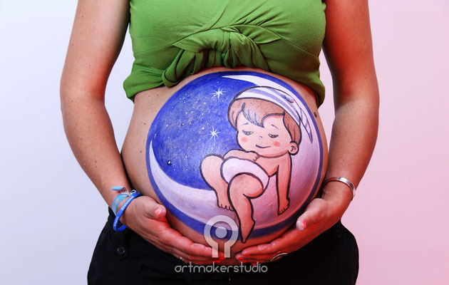 Baby in The Moon Belly Paint