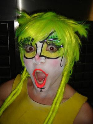 Flour clown facial makeup