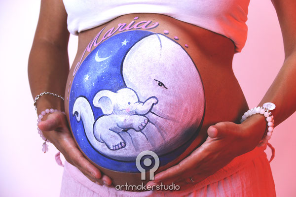 Belly Painting Baby Elefant Madrid