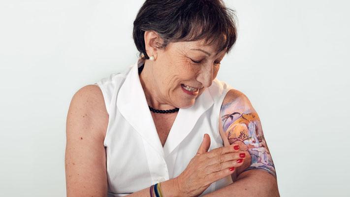 """Temporales Tattoo Madrid CATARATAS IGUAZÚ para campaña contra el Cáncer 2016 """"artmakerstudio"""""""