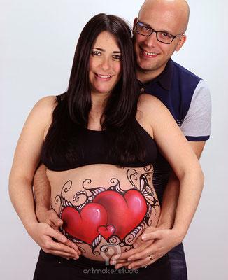 Tres corazones Belly Painting Madrid