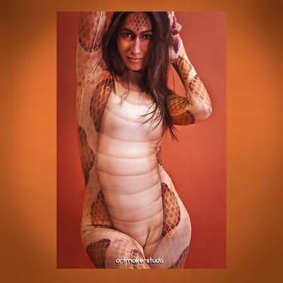 "Body Painting Serpiente sobre maya de licra Musical Antoine 2020 BE ON  ""artmakerstudio"""