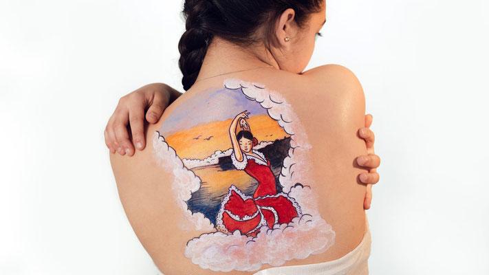 """Tatuaje Temporal/ Body Paint BAILAORA FLAMENCA para campaña """"Miedos y Pasiones...Nos Marca de por Vida"""" 2016 """"artmakerstudio"""""""